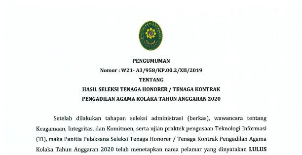 Pengumuman Hasil Seleksi Tenaga Honorer/ Tenaga Kontrak Pengadilan Agama Kolaka Tahun Anggaran 2020